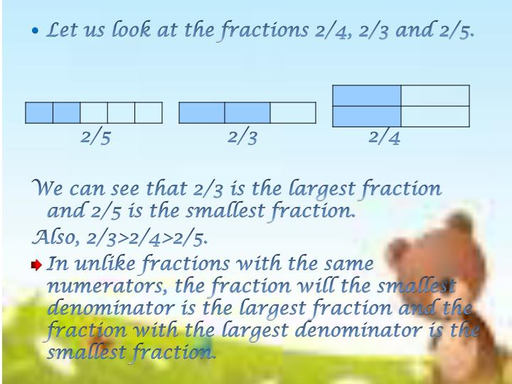 Let us look at the fractions 2/4, 2/3 and 2/5.