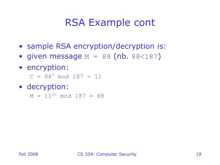 RSA Example cont