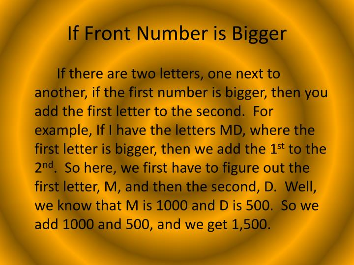 If Front Number is Bigger