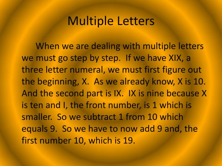 Multiple Letters