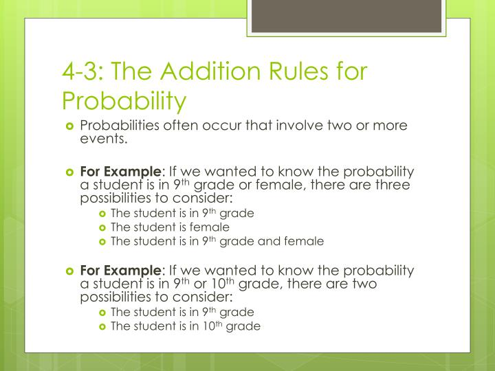 4-3: The Addition Rules for Probability