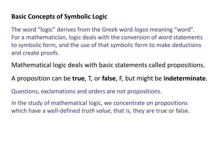 Basic Concepts of Symbolic Logic