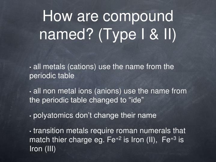 How are compound named? (Type I & II)