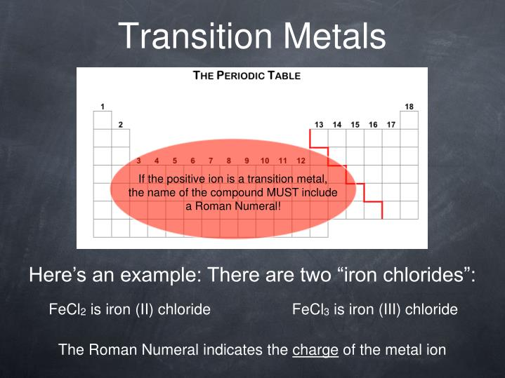 If the positive ion is a transition metal,