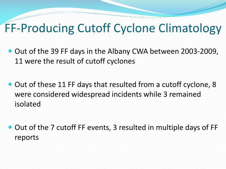 FF-Producing Cutoff Cyclone Climatology