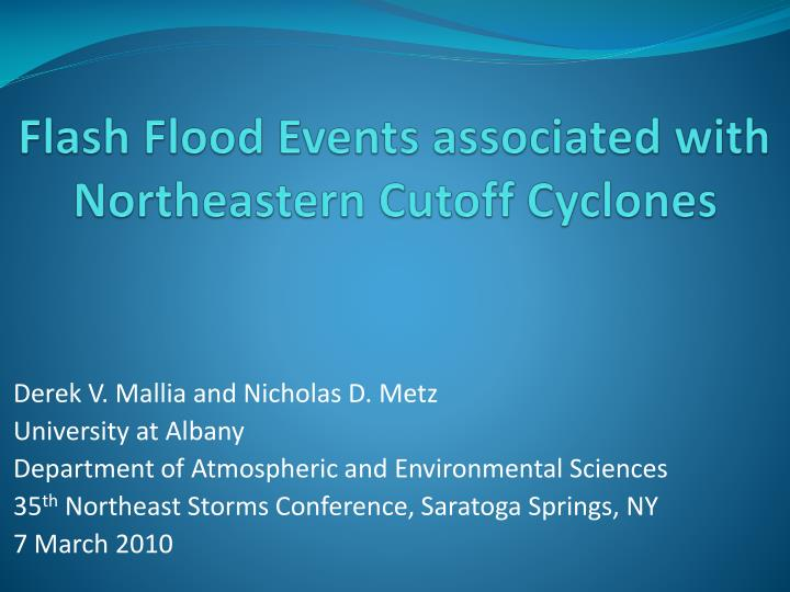 flash flood events associated with northeastern cutoff cyclones