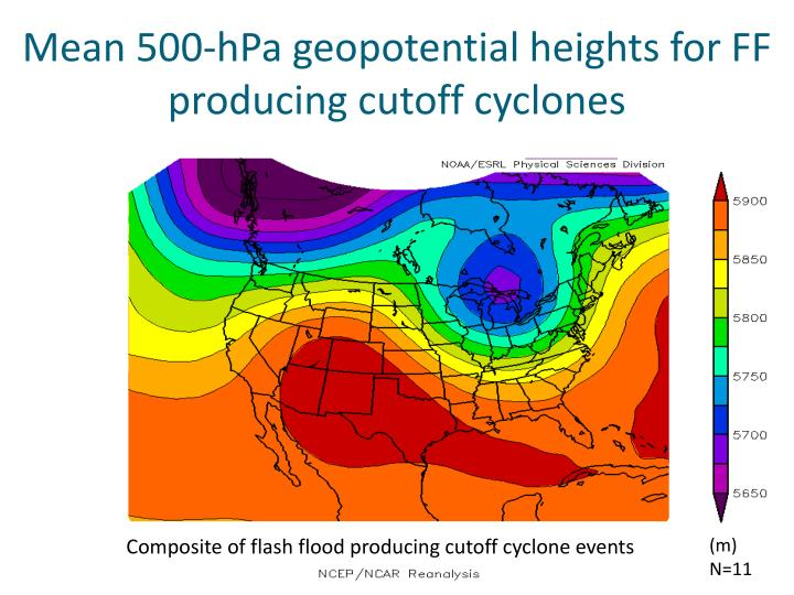 Mean 500-hPa geopotential heights for FF producing cutoff cyclones