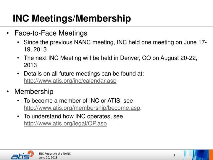 INC Meetings/Membership