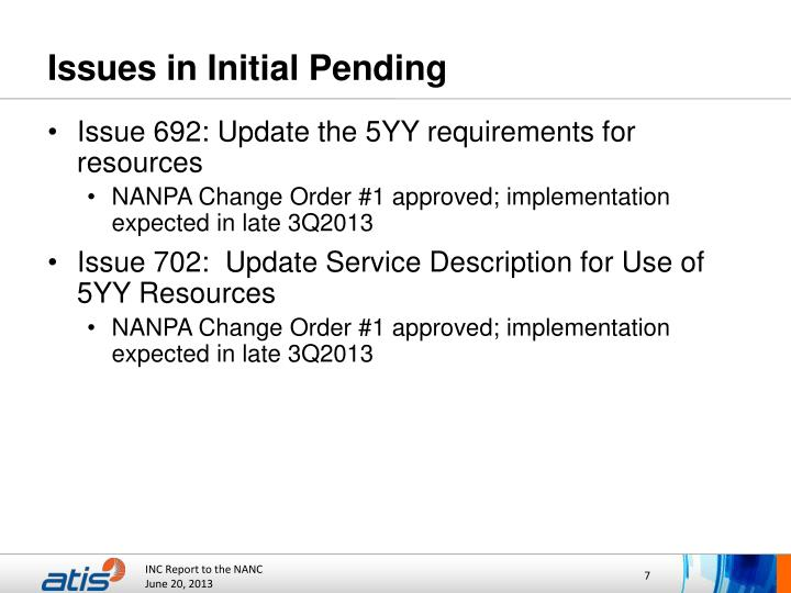 Issues in Initial Pending