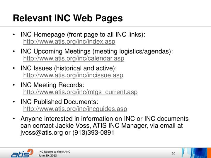 Relevant INC Web Pages