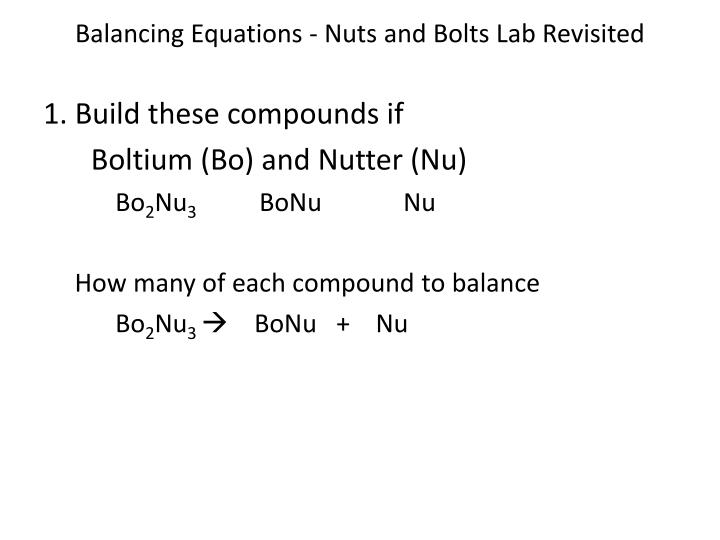 Balancing Equations - Nuts and Bolts Lab Revisited