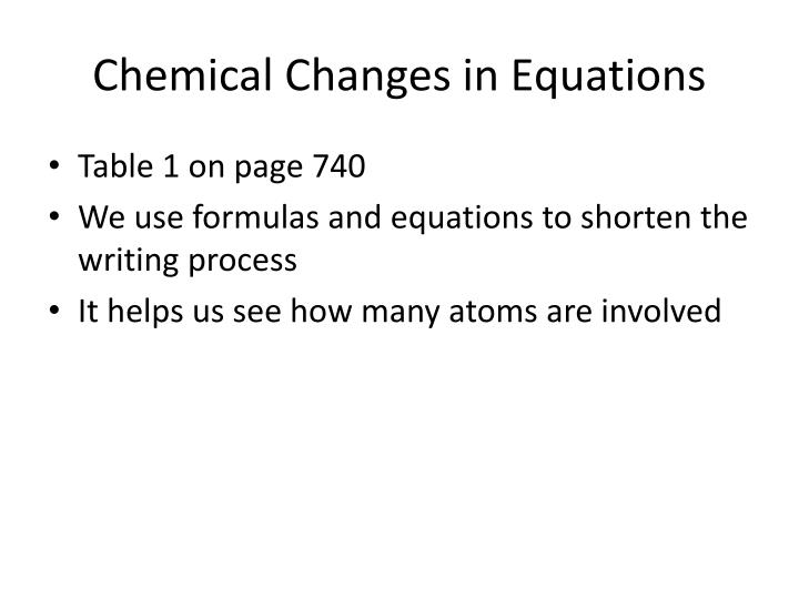 Chemical Changes in Equations