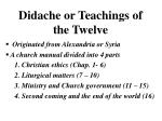 didache or teachings of the twelve