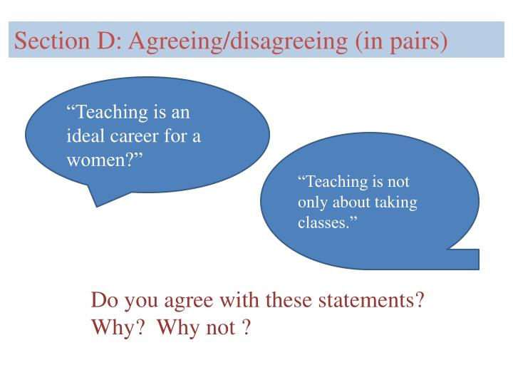 Section D: Agreeing/disagreeing (in pairs)