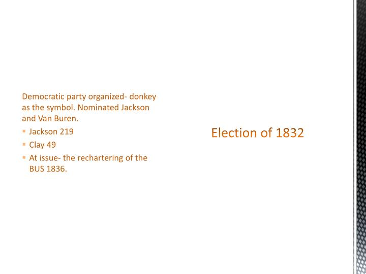 Democratic party organized- donkey as the symbol. Nominated Jackson and Van Buren.