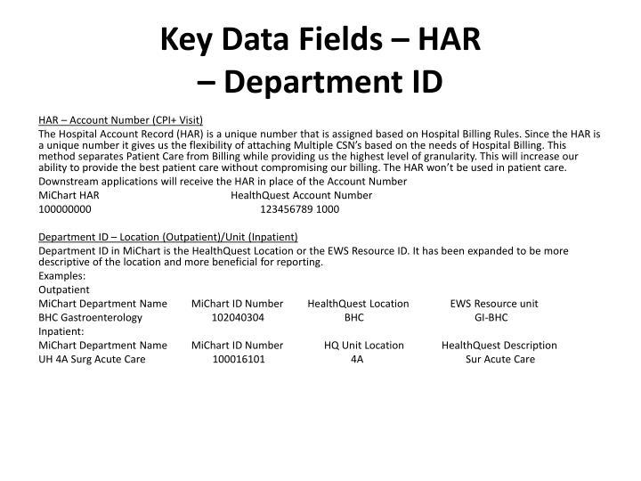 Key Data Fields – HAR