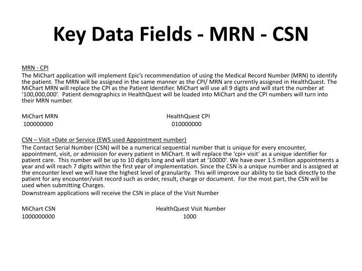 Key Data Fields - MRN -