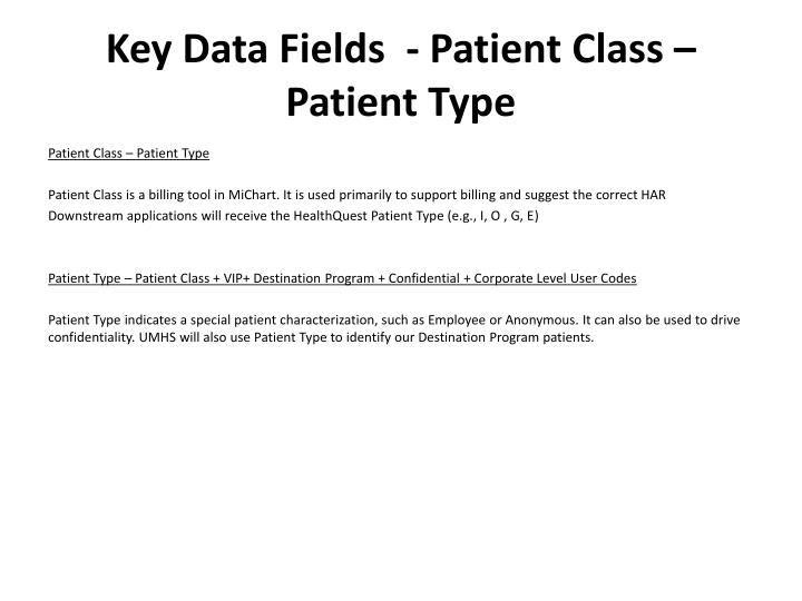 Key Data Fields  - Patient