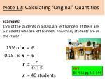 note 12 calculating original quantities1
