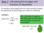 note 7 calculating percentages and fractions of quantities