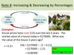 note 8 increasing decreasing by percentages6