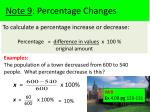 note 9 percentage changes1