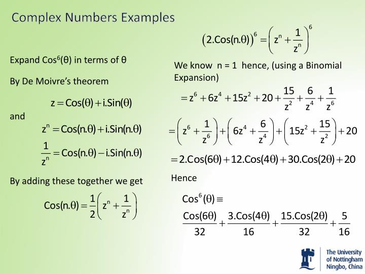 Complex Numbers Examples