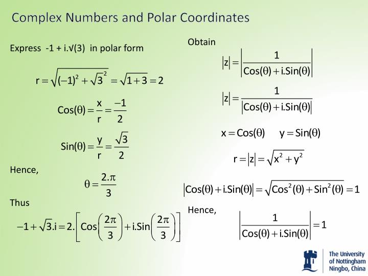 Complex Numbers and Polar Coordinates