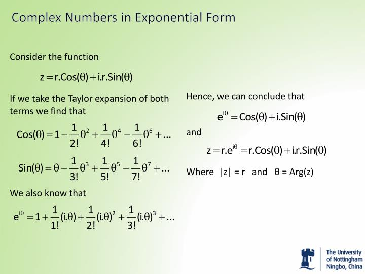 Complex Numbers in Exponential Form