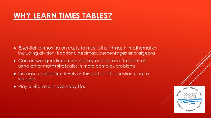 Why learn times tables