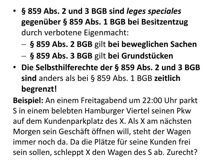 § 859 Abs. 2 und 3 BGB sind