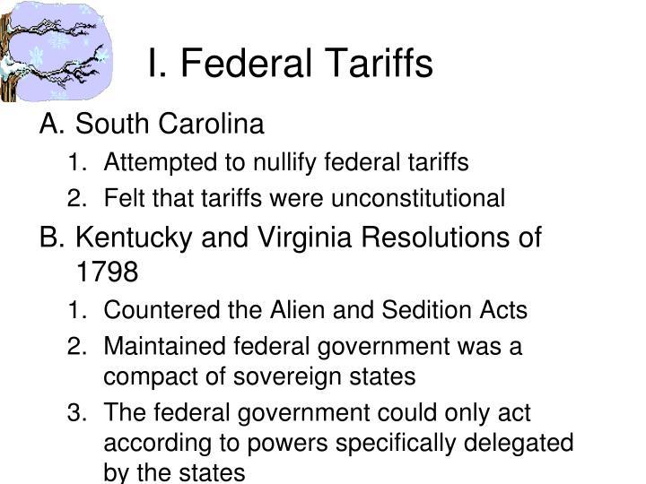 I. Federal Tariffs
