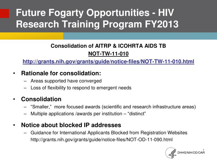 Future fogarty opportunities hiv research training program fy2013