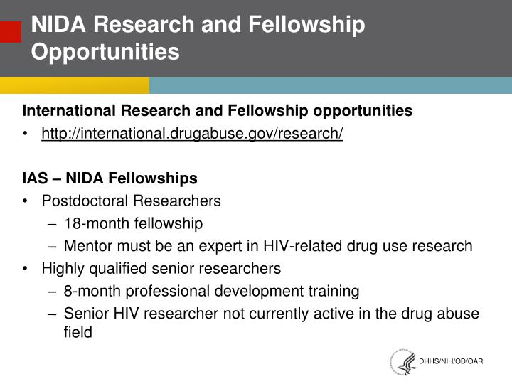 Nida research and fellowship opportunities