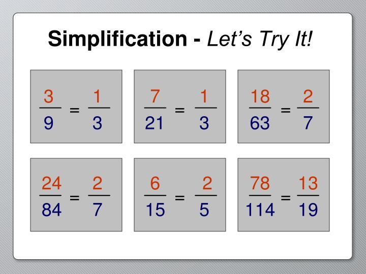 Simplification -