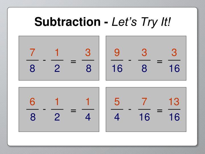 Subtraction -