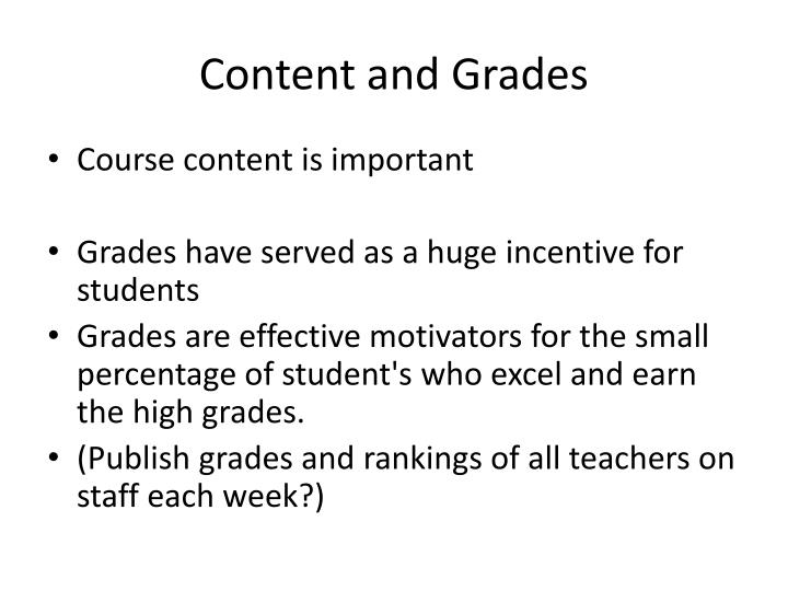 Content and Grades