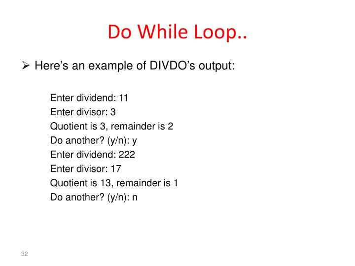 Do While Loop..