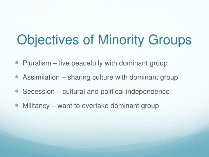 Objectives of Minority Groups