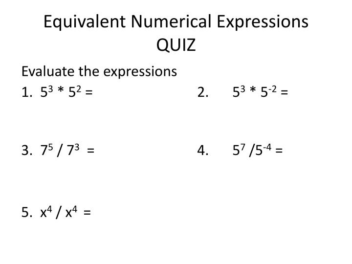 Equivalent Numerical Expressions
