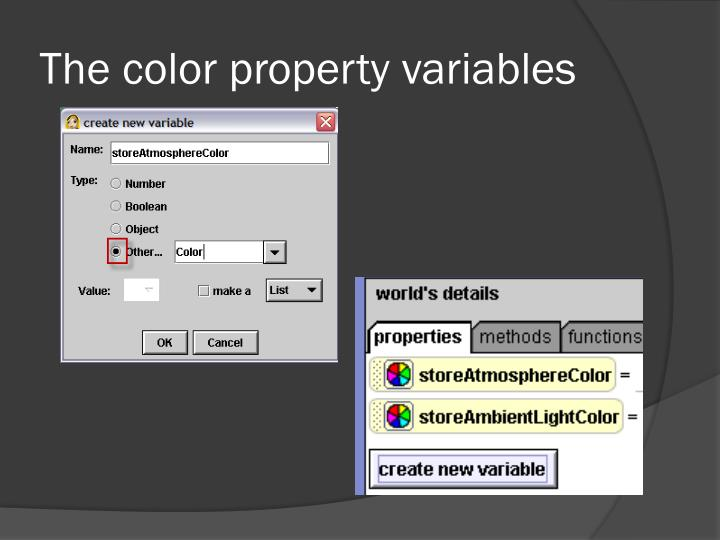The color property variables