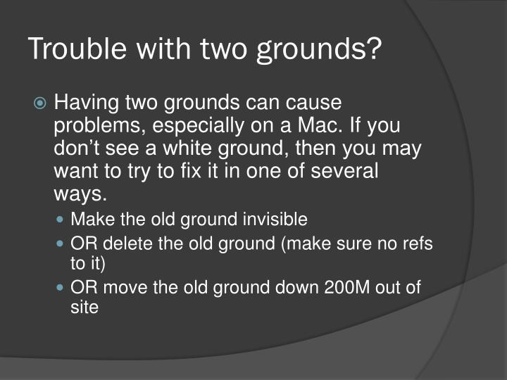 Trouble with two grounds?