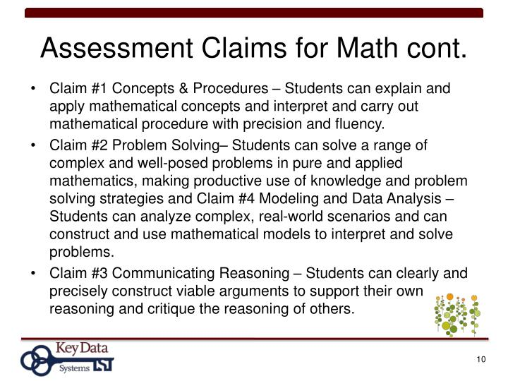 Assessment Claims for Math cont.