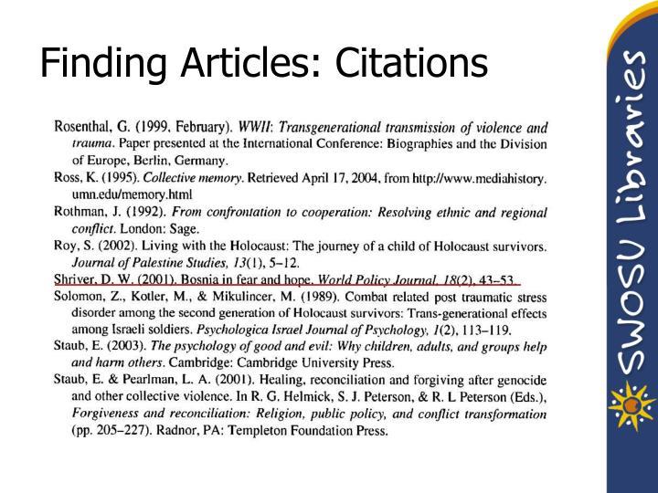 Finding Articles: Citations