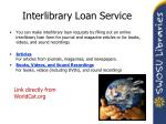 interlibrary loan service
