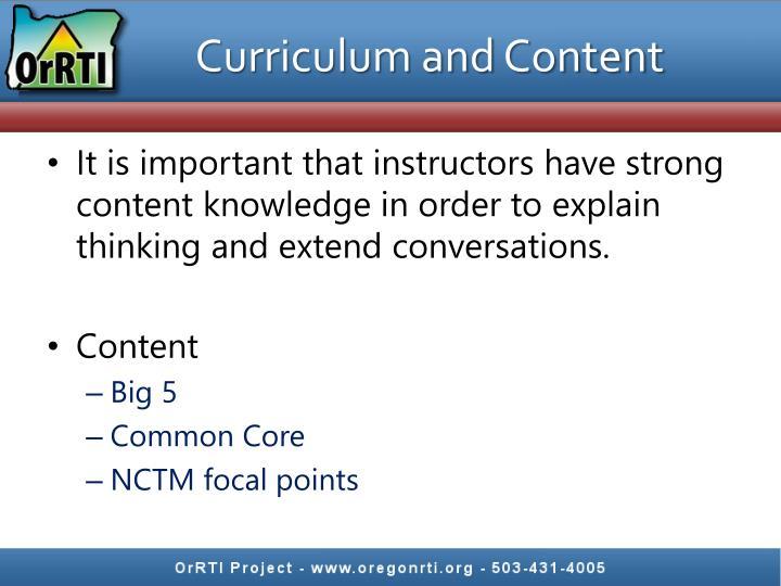 Curriculum and Content