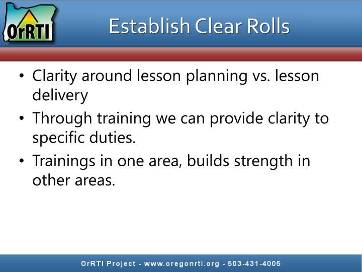 Establish Clear Rolls