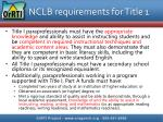 nclb requirements for title 1