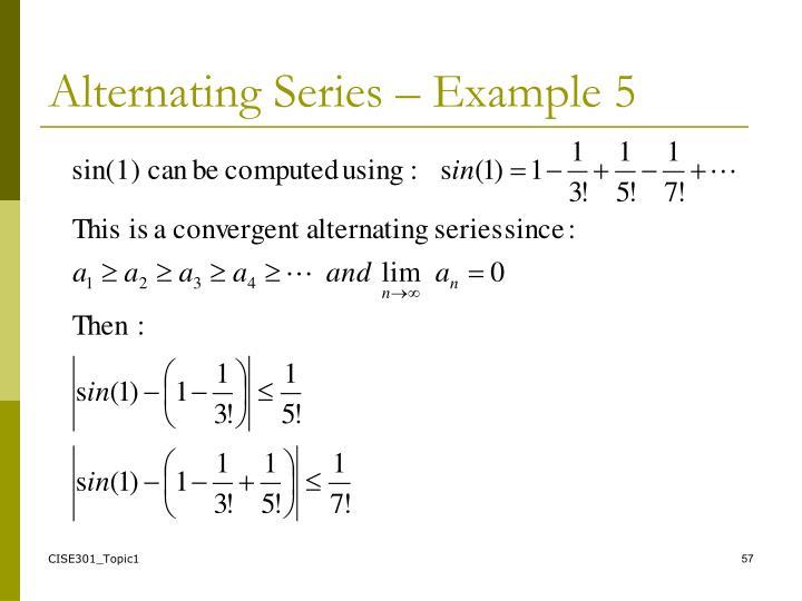 Alternating Series – Example 5