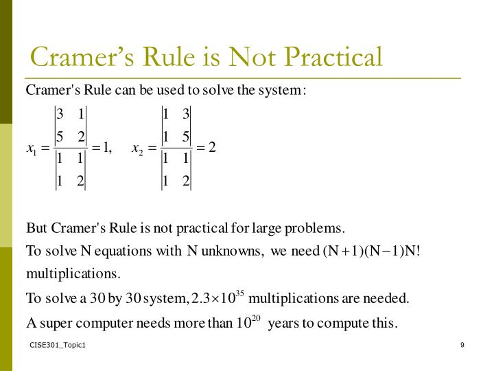 Cramer's Rule is Not Practical